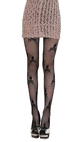 Lovelegis Größe ML Black Fishnet Socken mit Totenköpfen Frauen Sexy Girl Zubehör Verkleidung Halloween Cosplay Karneval Steampunk Gothic Dark Geschenkidee