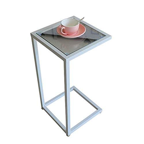 Axdwfd Table d'appoint portable en verre trempé de table d'appoint pour table d'appoint Table de chevet portable, 15.7''x15.7''x27.5 '' (blanc)