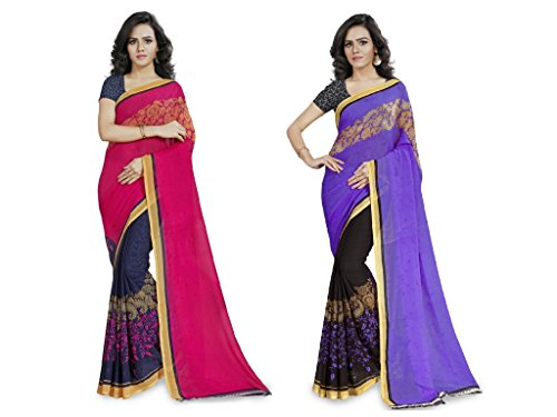 Anand Sarees Women's Faux Georgette Multi Color Printed Combo Saree With Blouse...