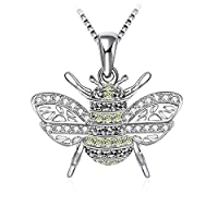 Swarovski Elements 925 Sterling Silver Bee Pendant Necklace for Women and Ladies Gift JRosee Jewelry JR258