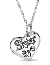 Bling Jewelry hermana acento floral de rosa en forma de corazón colgante Collar de plata esterlina de 16 pulgadas