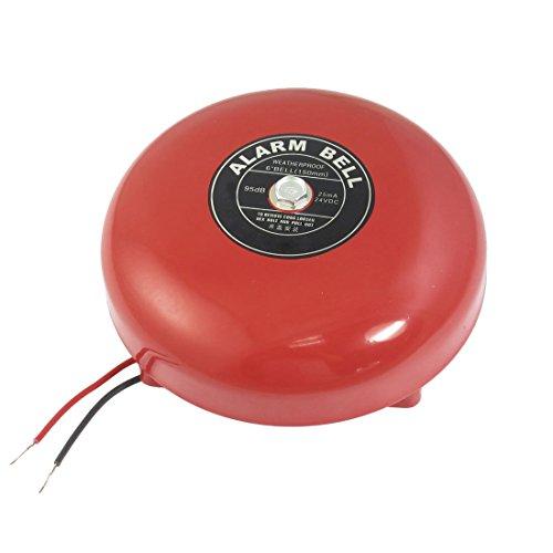 SODIAL(R) DC 24V 25mA 95db 150mm 6 Zoll Durchmesser Metall Elektrisch Rund Alarm Glocke Rot