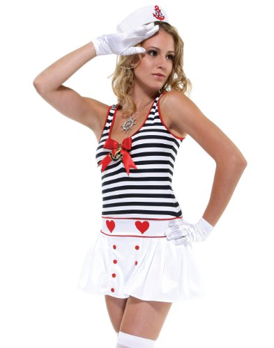 Adult All Hands on Deck Sailor Costume - Medium/Large Fancy Dress (Alle Hände An Deck Kostüm)