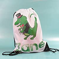 Personalised Dinosaur Drawstring Bag Back to School Dinosaur Gift Dinosaur Top Hat Hand drawn