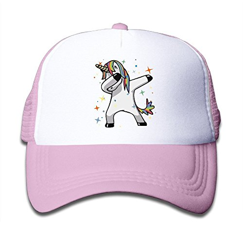 fboylovefor Dab Hip Hop Funny Magic Unicorn Boy Girl Hats Snapback Mesh Cap Adjustable Baseball Caps Kids Trucker Hat Pink