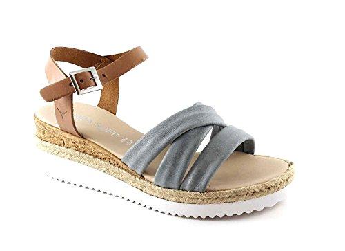 CINZIA SOFT IG9594 coloniale grigio scarpe sandali donna cinturino Grigio