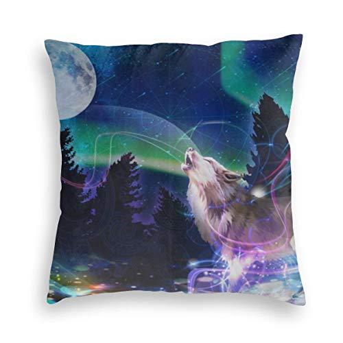 Huabuqi Psychedelic Night Sky Moon Galaxy Dekorative Kissenbezug Wohnkultur Kissenbezug Geschenke Bunte (18x18 Zoll)
