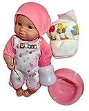 Lia Baby Puppe. Macht Pipi. 4-teilig. Mit großer Tasche zum Umhängen, rosa, Windel und Topf. Tolles Geschenk für Kleinkinder Kinder Spielzeug