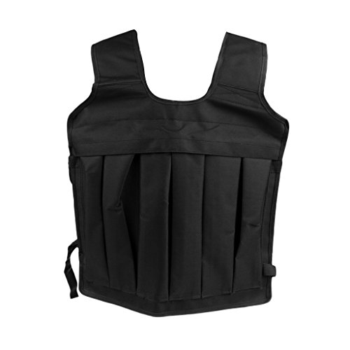 MagiDeal Veste Lestée Gilet Réglable Max 35kg de Chargement Poids Sable équipement d'Exercice pour Sport Fitness Boxe Courir - Noir, 60x45cm