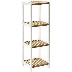 Estantería de bambú de exhibición con 4 estantes (Beige)