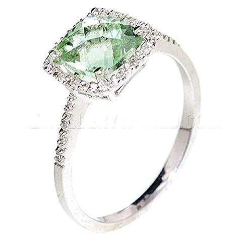 Vert Améthyste et Diamant Or Blanc 9Carats Damier carré Bague