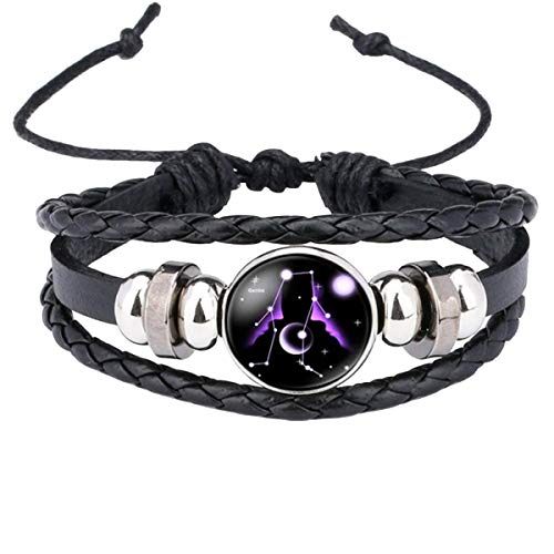 ZIVOMR Gemini 12 Constellation Zodiac Star Good Luck Braided Black Leather Strand Bracelet Birthday Gift