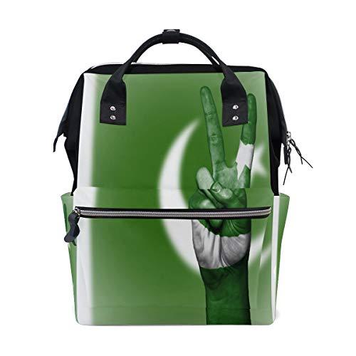 MUOOUM Wickeltasche Pakistan Flagge Peace Handwindeltasche Mommy Bag Wickeltasche Stillrucksack für Babypflege Multifunktions-Reißverschluss Casual Reisen Rucksäcke
