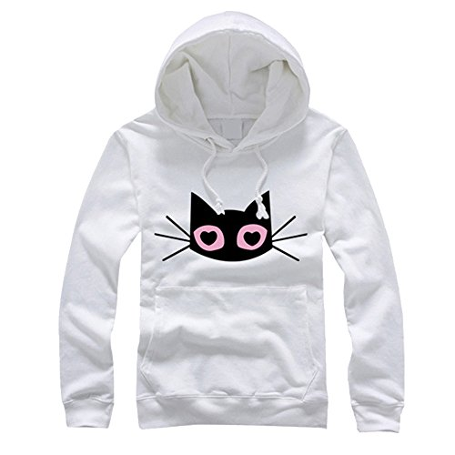 Dihope Femme Homme Printmeps Automne Sweat à Capuche Manches Longues Chat Imprimés Top Sweat -shirt Casual Sweater Hoodie pour Couple Femme Blanc