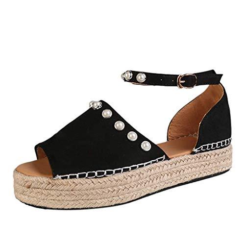 KIMODO® Damen Sandalen Leopard Drucken Platform Wedges Römische Schuhe Pearl Strap Knöchel Strandschuhe Freizeitschuhe Chuck Taylor All Star 3 Strap