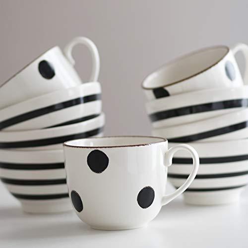TAZA AMOUR - Taza Grande - Desayuno - 11 cm x 9,5 cm - Cerámica - Lunares - Blanco y Negro