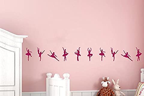 Ballerinas Dancing In A Row Wall Stickers And Art Decals Each (8.5cm x 18.5cm) When placed onto wall (Height 108cm x Width 23cm) Violet