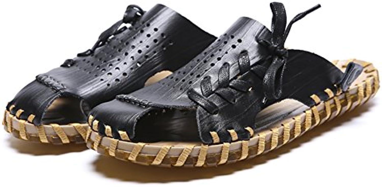 ZJM  Sommer Pantoffel Mann Sandelholz Strand Schuh geschlossene Zehe entwarf weiches echtes Leder rutschfesteSommer Pantoffel Mann Sandelholz Strand Schuh geschlossene entwarf weiches Leder rutschfeste Fischer Billig und erschwinglich Im Verkauf