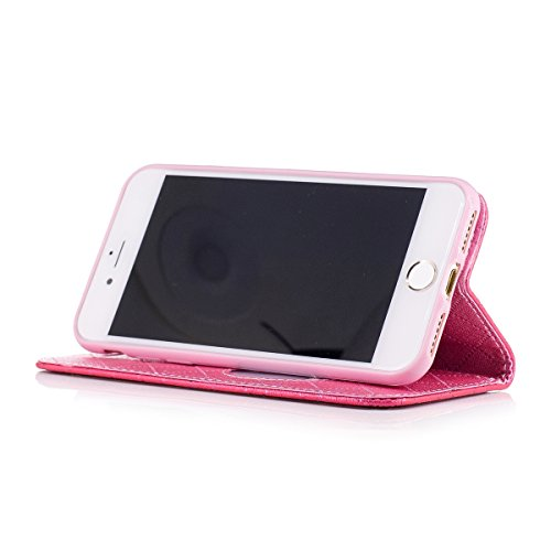 iPhone 7 Custodia, iPhone 7 Cover Wallet, SainCat Custodia in Pelle Cover per iPhone 7, Anti-Scratch Protettiva Caso Elegante Creativa Dipinto Pattern Design PU Leather Flip Portafoglio Custodia Libro Rose