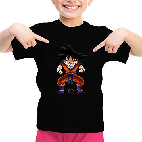 Okiwoki T-Shirt Enfant Fille Noir Dragon Ball Z - DBZ parodique Sangoku : Super Caca - Vol.1 (Parodie Dragon Ball Z - DBZ)