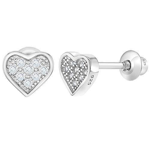 �dchen - Schraubverschluss Ohrringe Pflastern Herz Klar 925 Sterling Silber CZ Zirkonia ()