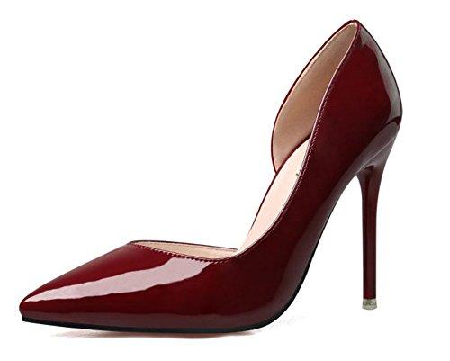 Wealsex Escarpin Vernis Bout Pointu Talon Aiguille Haute 10 CM Mode Sexy Simple Classique Femme Bordeaux