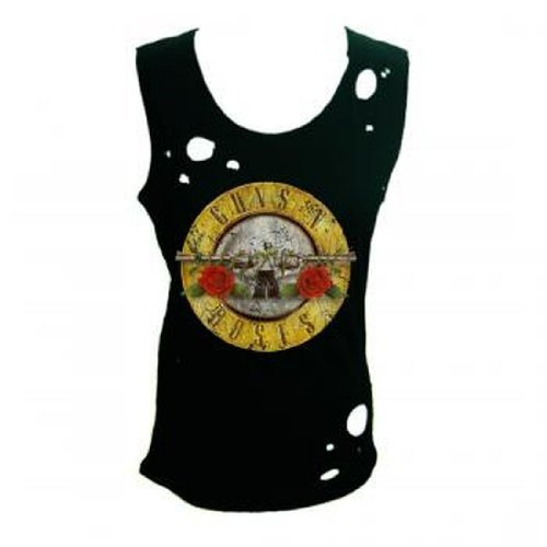 Ill Rock Merch Guns N Roses - Circle Guns Destroyed Women's Tank Top T-Shirt (X-Large) (Rock Circle Womens)