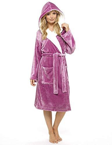 CityComfort Vestido de lujo de las señoras traje súper suave con forro de piel albornoz felpa albornoz...