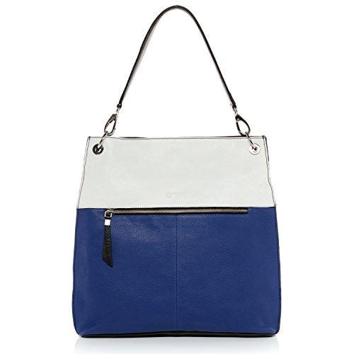BACCINI borsa a spalla CAPRI - sacchetto - borse a tracolla - borse a secchiello donna vera pelle nero (35 x 35 x 10 cm) nero-blu-bianco