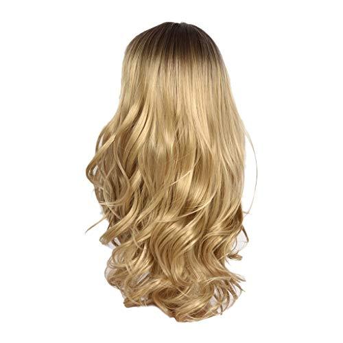 (Malloom Perücke Kopf über weibliche Rose Netto Lange lockiges Haar Perücken)