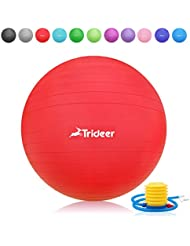 Trideer Robuster Gymnastikball Sitzball Fitnessball von 45cm 55cm 65cm 75cm & 85cm inkl. Ballpumpe
