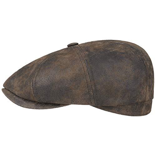 skin Flatcap Herren | Schirmmütze aus Leder | Schiebermütze mit Innenfutter | Mütze | Herrencap Sommer/Winter | Ballonmütze braun S (54-55 cm) ()