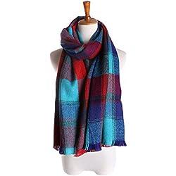 El Otoño Y El Invierno Salvaje De La Cachemira De La Tela Escocesa Bufanda Multicolor,Blue