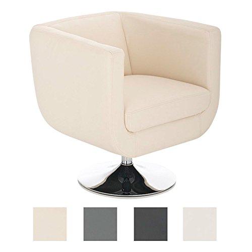 CLP Lounger Colorado V2 mit Kunstlederbezug I Gepolsterter Cocktailsessel mit Metallgestell in Chrom-Optik I Drehbarer Sessel mit Trompetenfuß Creme