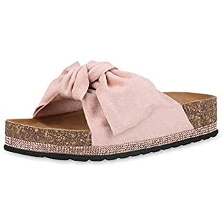 SCARPE VITA Damen Sandaletten Pantoletten Sommerschuhe Plateau Sandalen Wildleder-Optik Schuhe Schlappen Schleife Strass 180474 Rosa Rose 38
