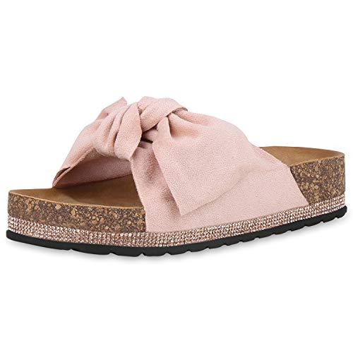 SCARPE VITA Damen Sandaletten Pantoletten Sommerschuhe Plateau Sandalen Wildleder-Optik Schuhe Schlappen Schleife Strass 180474 Rosa Rosa 40