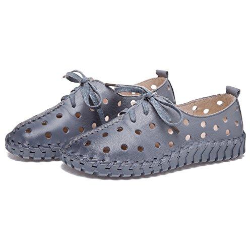Shenn Donna Cavo Basso tallone ozio Pelle Moda Sneaker Grigio