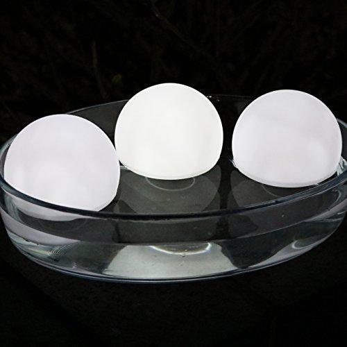 3 LED Schwimmkugel Kugel Kugelleuchte Schwimmleuchte Wasserdicht für Bad, Pool, Teich, Garten 8 cm Weiß von PK Green