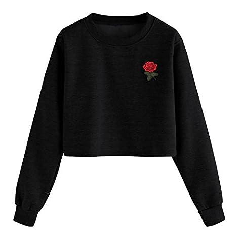 Tonsee Femmes Mode Blanc Lettre Imprimer Surgir Sweat-shirt Top Blouse (S, Noir)