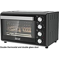 American Micronic-AMI-OTG-36LDx- 36 Litre Imported Oven Toaster Griller, 2000W with Rotisserie, Convection, Dual Thermostat & Double Glass Door (Black)