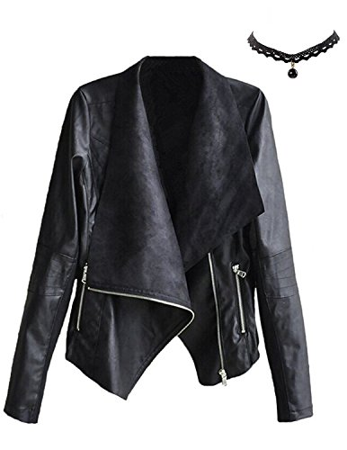 M-Queen Mujer Chaqueta de PU Cuero Cortos Abrigo de Cuello De Solapa con Cremallera Elegante Outwear Invierno Tops Jacket Negro XL