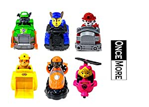 ONCEMORE Compatible 6 in 1 Pup Buddies Hero Action Pack Pup & Badge Ryder, Tracker, Robot Dog, Everest, Team Mission Toy Pretend Play Set for Kids