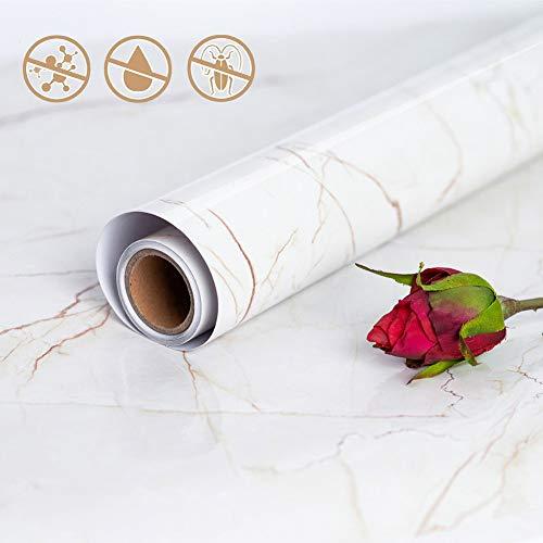 Hode Marmor Folie Selbstklebende PVC Küche Bad Dekoration Vinyl Aufkleber Möbelfolie DIY Dekorative,Wandfolie,Dekorfolie,Klebefolie (45X200cm)