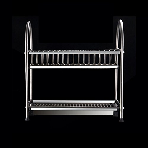 BOBE SHOP- Étagère multifonctionnelle de cuisine - étagère de vaisselle d'acier inoxydable de doubles couches/étagère de drain/support de vaisselle (taille : 45cm*28cm*32cm)