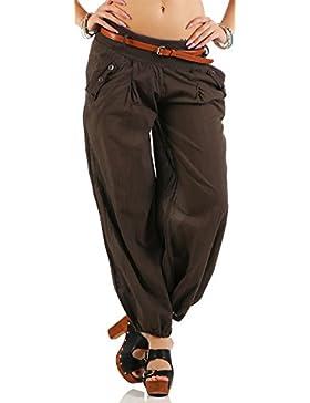 malito Pantalón Bombacho incl. el Cinturón Pantalón de tela Unicolor 6017 Mujer