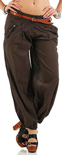 Malito Damen Chino Hose in Uni Farben | Freizeithose mit Gürtel | Sommerhose für den Strand | Haremshose - Pumphose 6017 (Dunkelbraun, L)