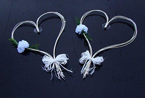 ROMANTISCHE HERZEN Auto Schmuck Braut Paar Rose Deko Dekoration Autoschmuck Hochzeit Car Auto Wedding Deko (Weiß)