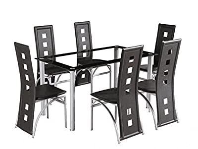 Yakoe Dining Room Table Set And 6 Chairs Brand New, Faux Leather, Black - cheap UK light store.