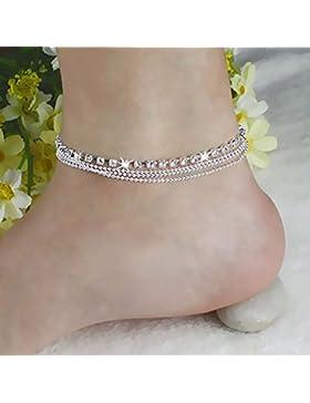 2X Kristall Fußkette Knöchel Kette Silber überzogen glänzender Fußkettchen