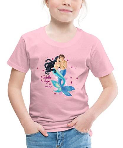 Spreadshirt Schleich Bayala Meerjungfrau Isabelle & Aryon Kinder Premium T-Shirt, 122/128 (6 Jahre), Hellrosa